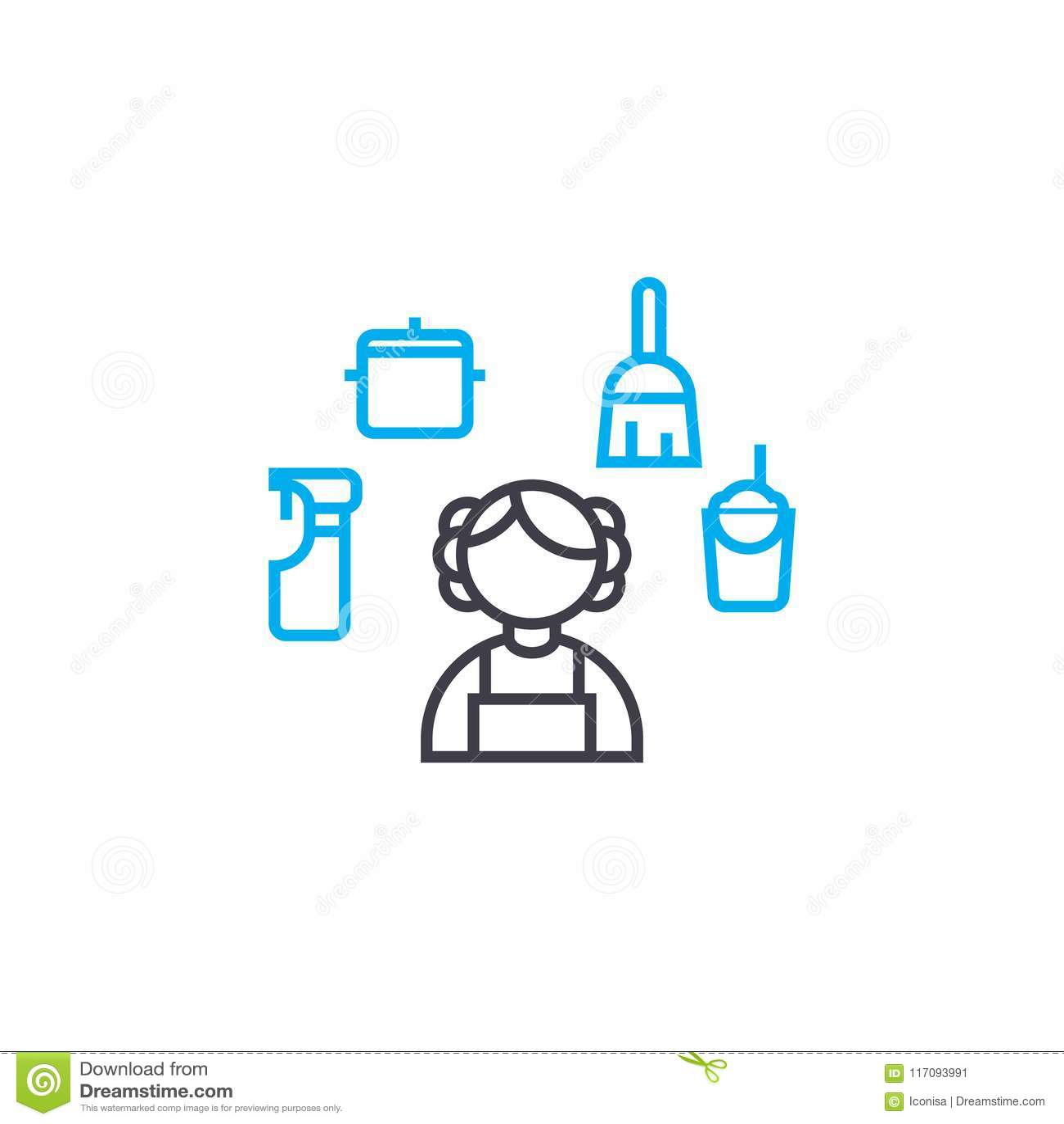 Casa que limpa o conceito linear do ícone Abrigue a linha sinal da limpeza do vetor, símbolo, ilustração