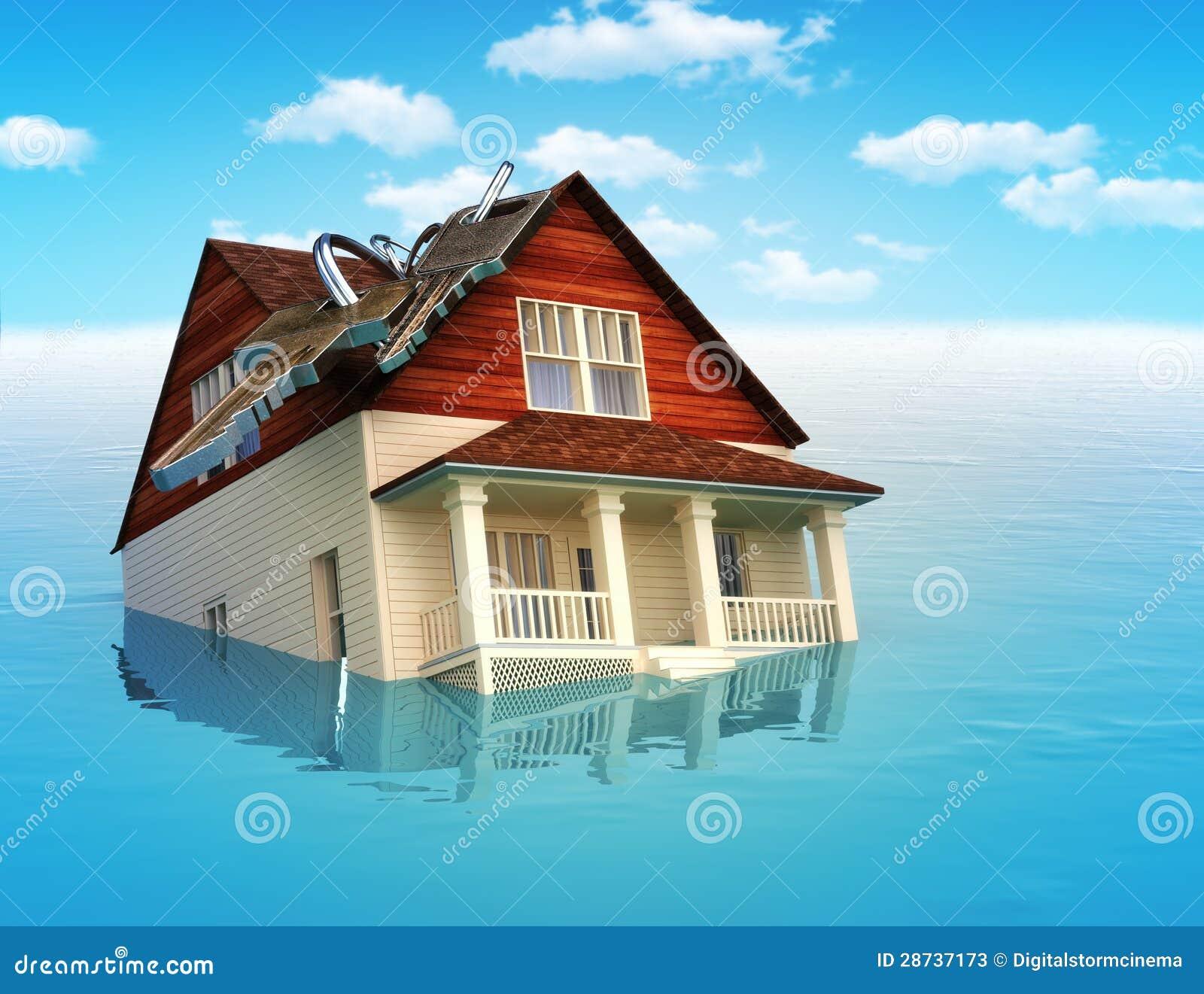 Casa que se hunde en agua