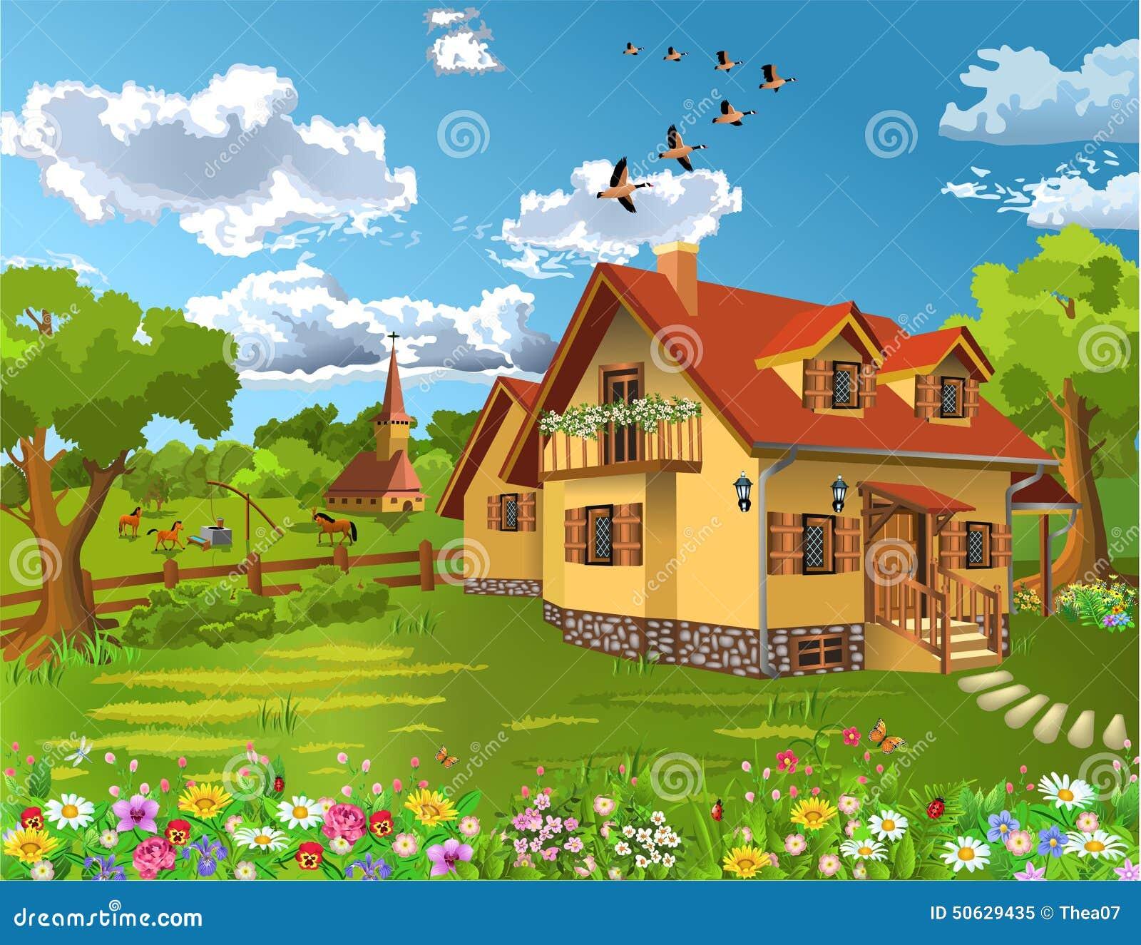Casa r stica en un paisaje natural ilustraci n del vector - Paisajes de casas ...