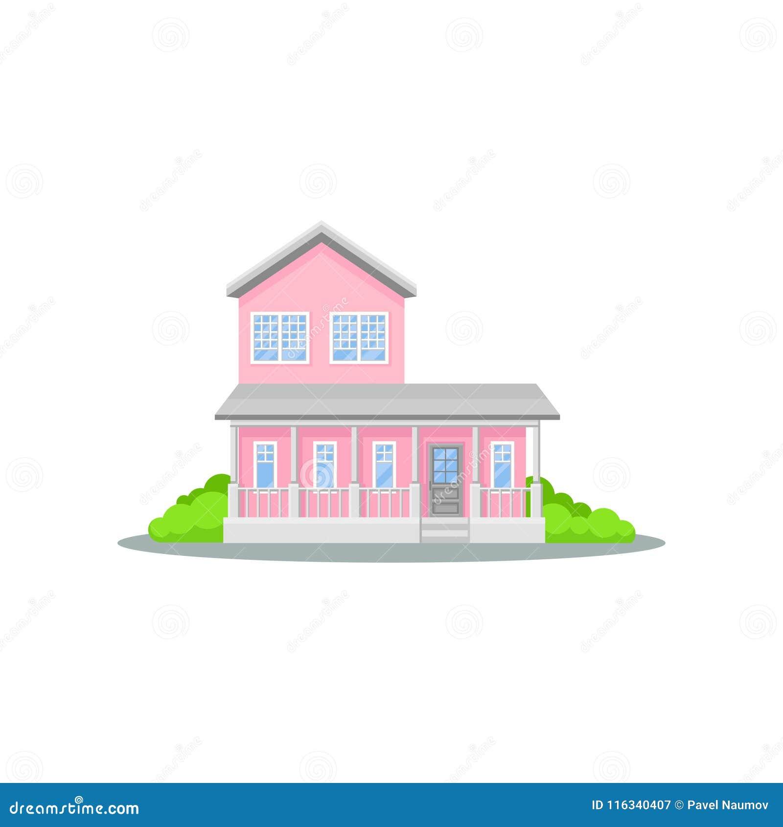 Casa Rosada De Dos Pisos Encantadora Con La Terraza Pequeño