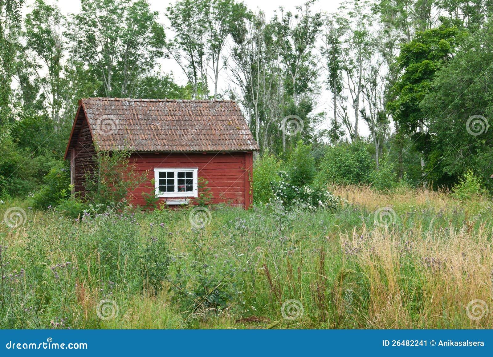 casa rossa svedese tradizionale nel paesaggio di estate