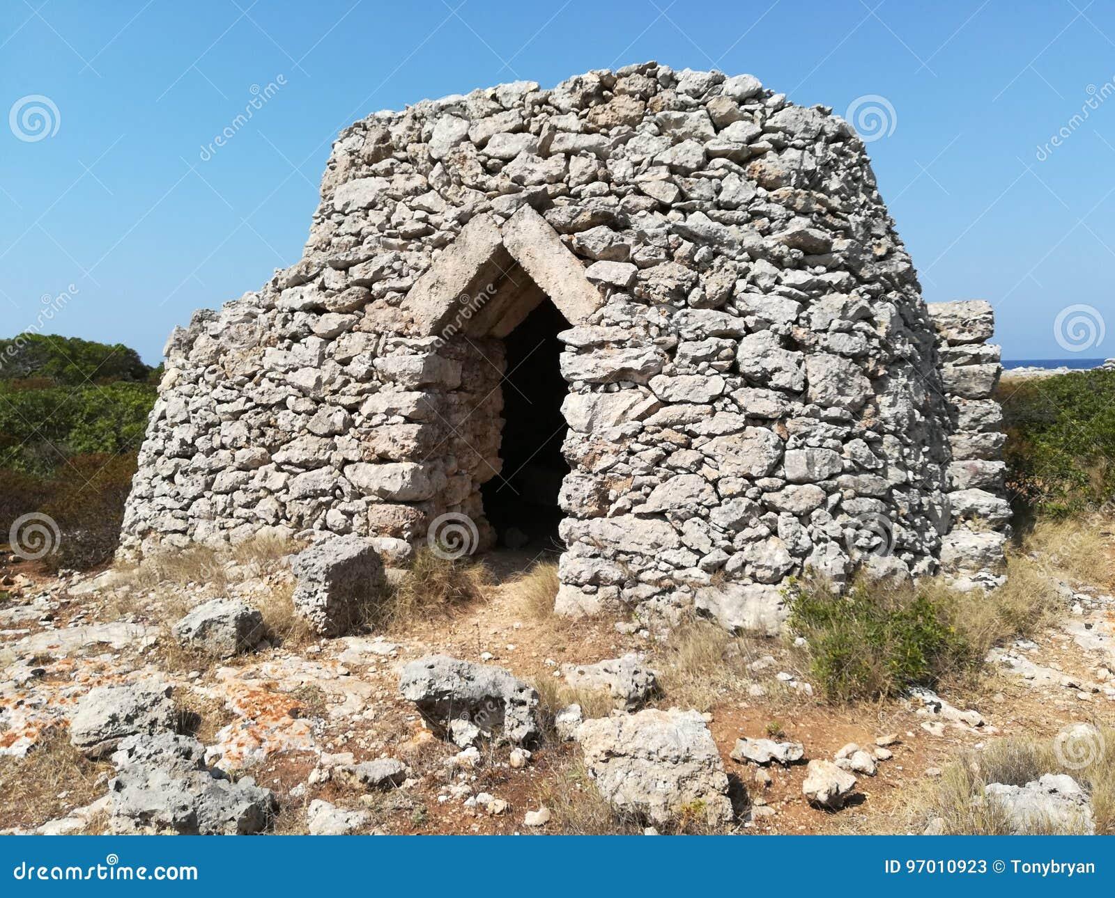 Casa rural de Pajaru A del salento de Trullo construida con las piedras típicas del área de Salento Lecce, Puglia