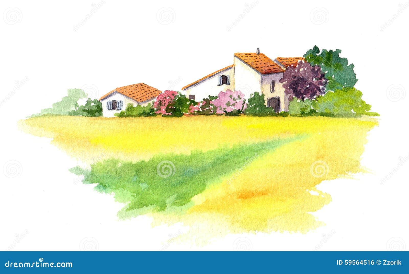 Casa rural y campo amarillo en Provence, Francia watercolor