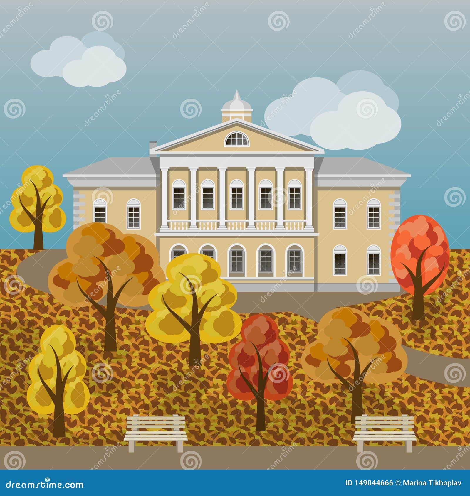 Casa Senhorial Ou Palacio Rico Dos Desenhos Animados Na Paisagem