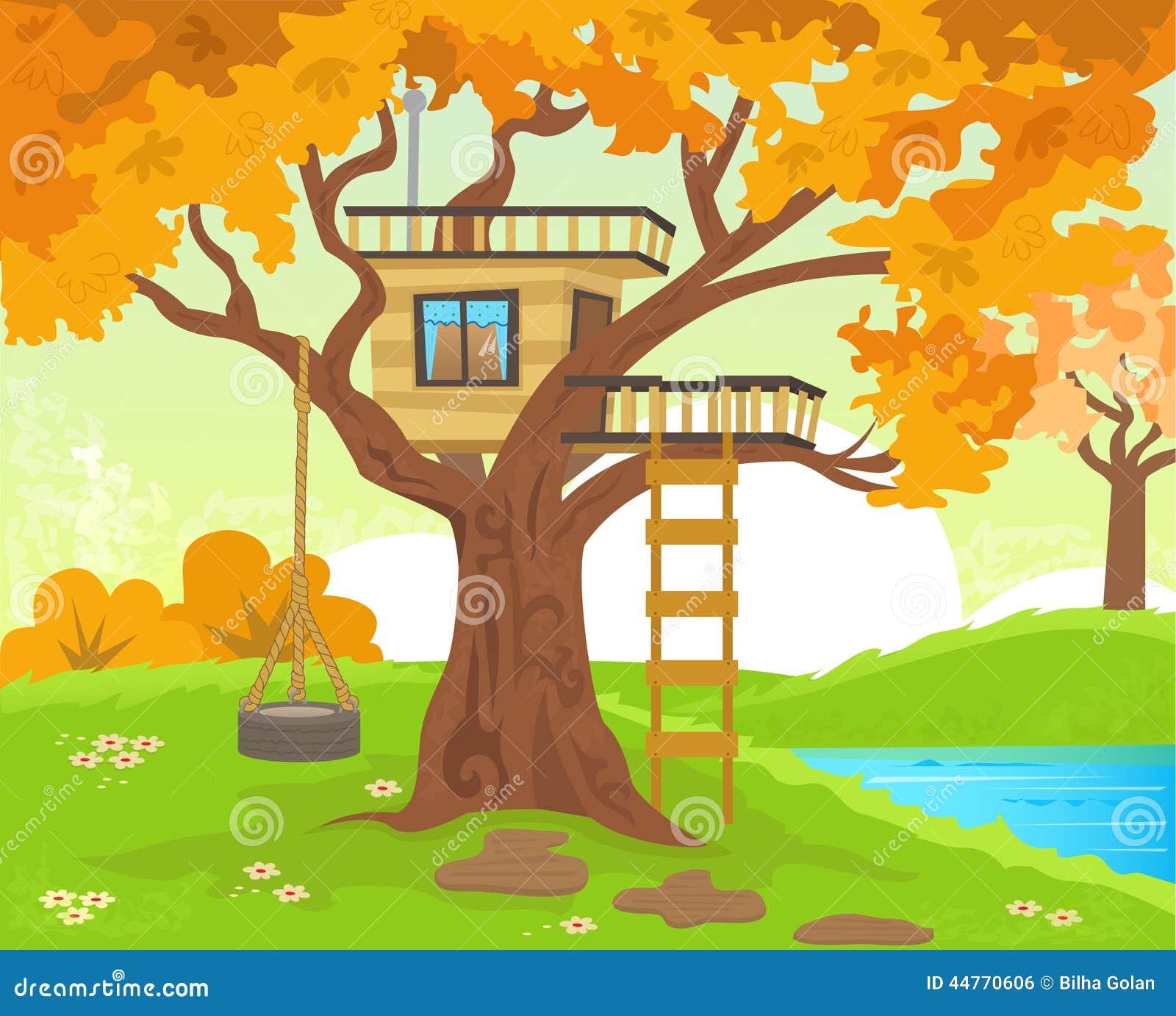 Casa Sull Albero Illustrazione Vettoriale Illustrazione Di