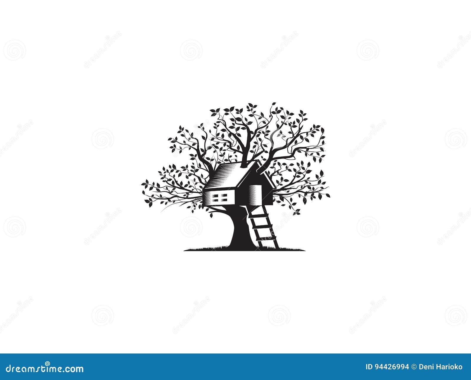 Casa sull'albero illustrazione vettoriale. Illustrazione ...