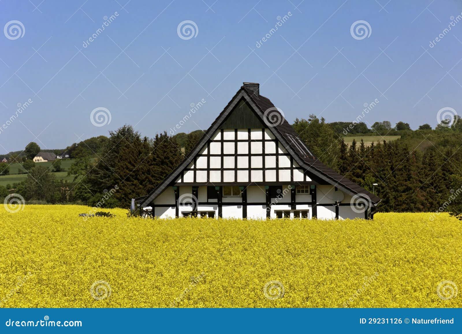 Download Casa Suportada Com Campo Da Violação Em Alemanha Foto de Stock - Imagem de madeira, casa: 29231126