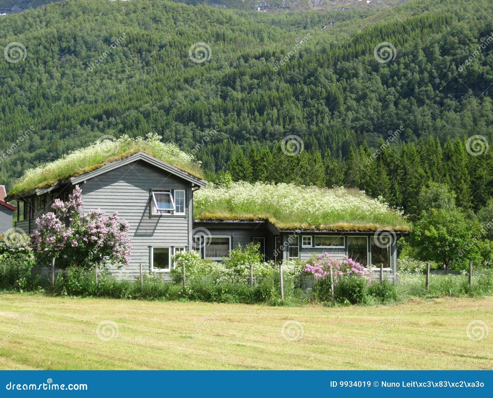 Casa t pica de la granja de noruega im genes de archivo for Casas en noruega