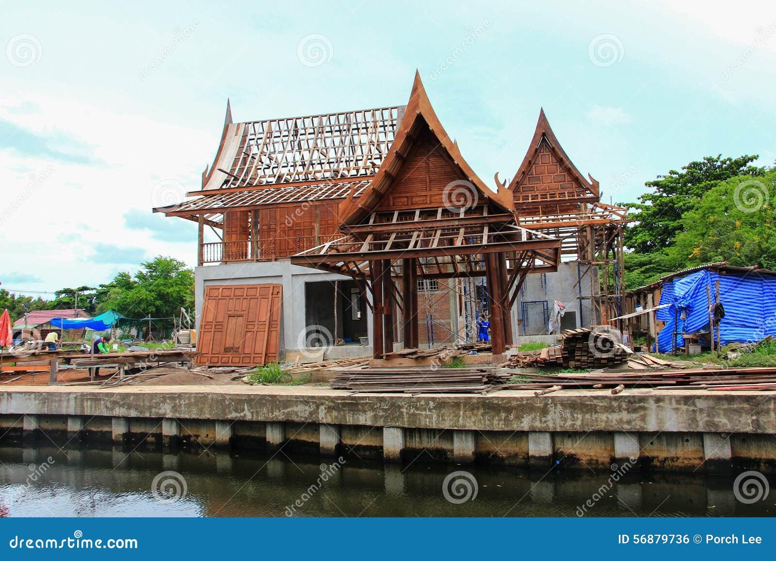 Casa tailandese tradizionale della costruzione