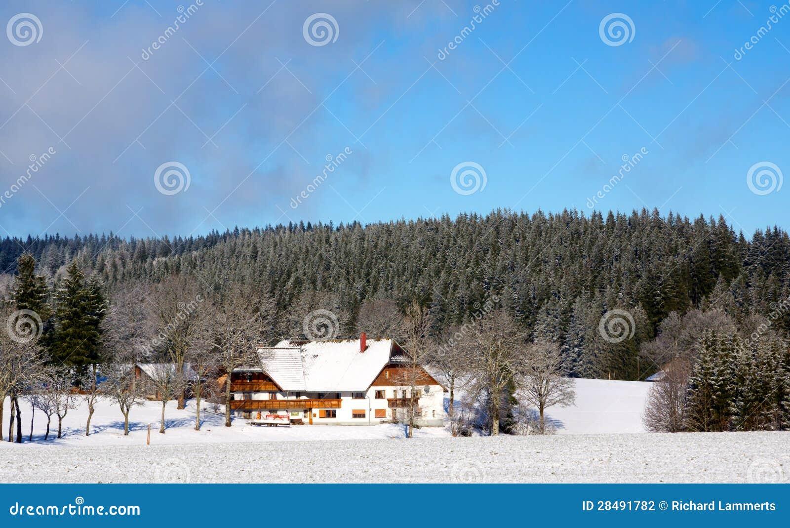 Casa tedesca tipica nel paesaggio nevoso fotografia stock for Casa tradizionale tedesca