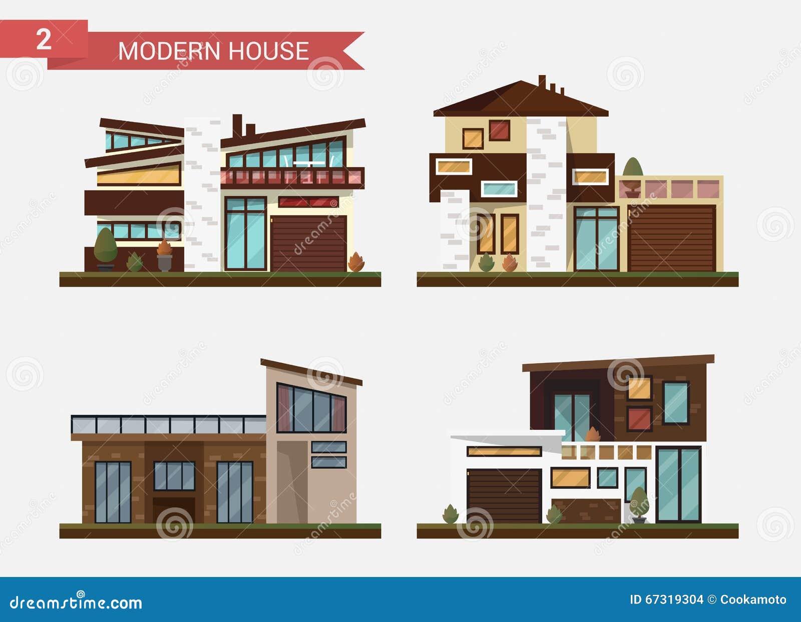 Casa tradicional y moderna del ejemplo plano del vector Domicilio familiar Edificio de oficinas Pavimento privado, patio trasero