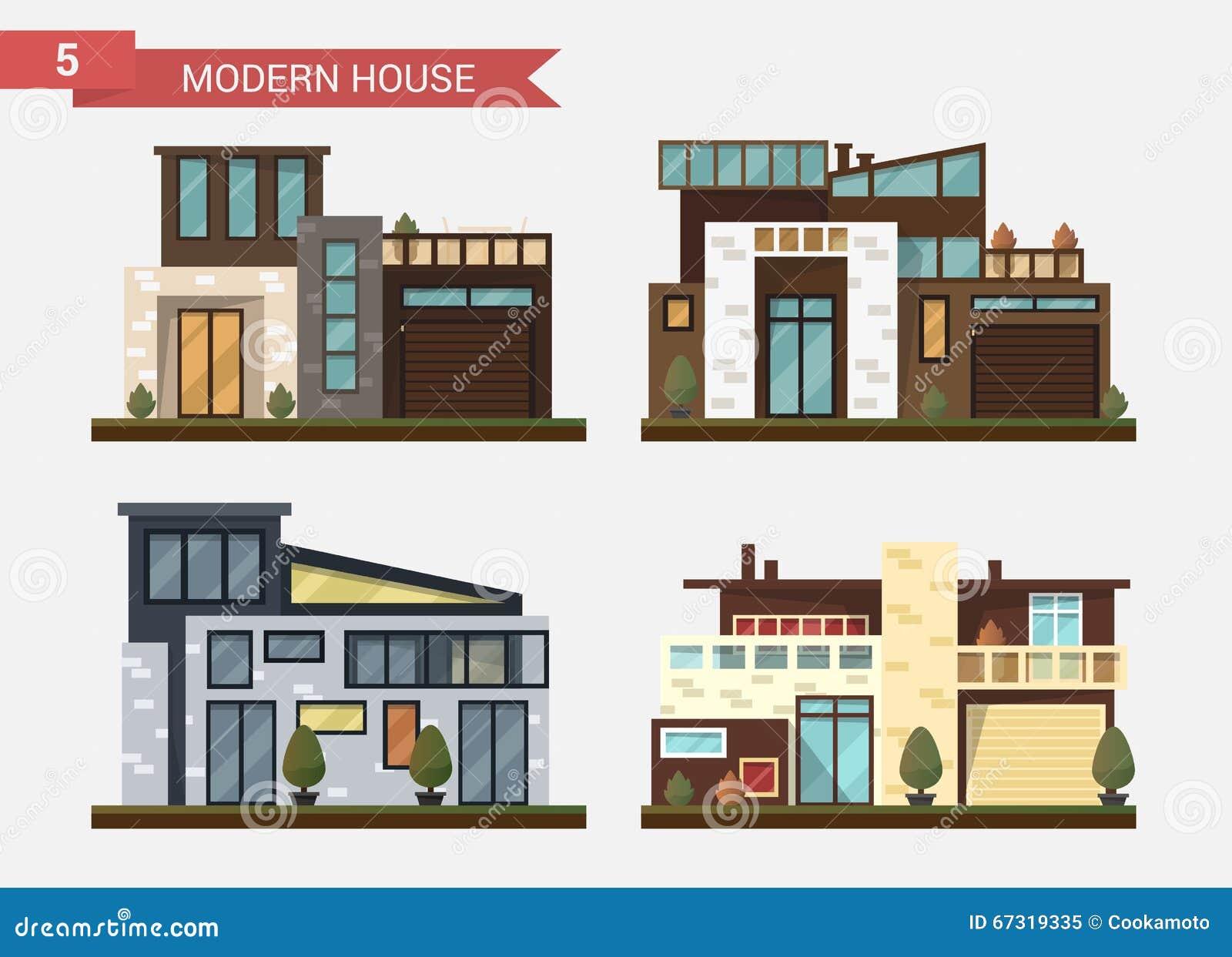 Casa tradicional y moderna del ejemplo plano del vector for Ejemplos de oficinas