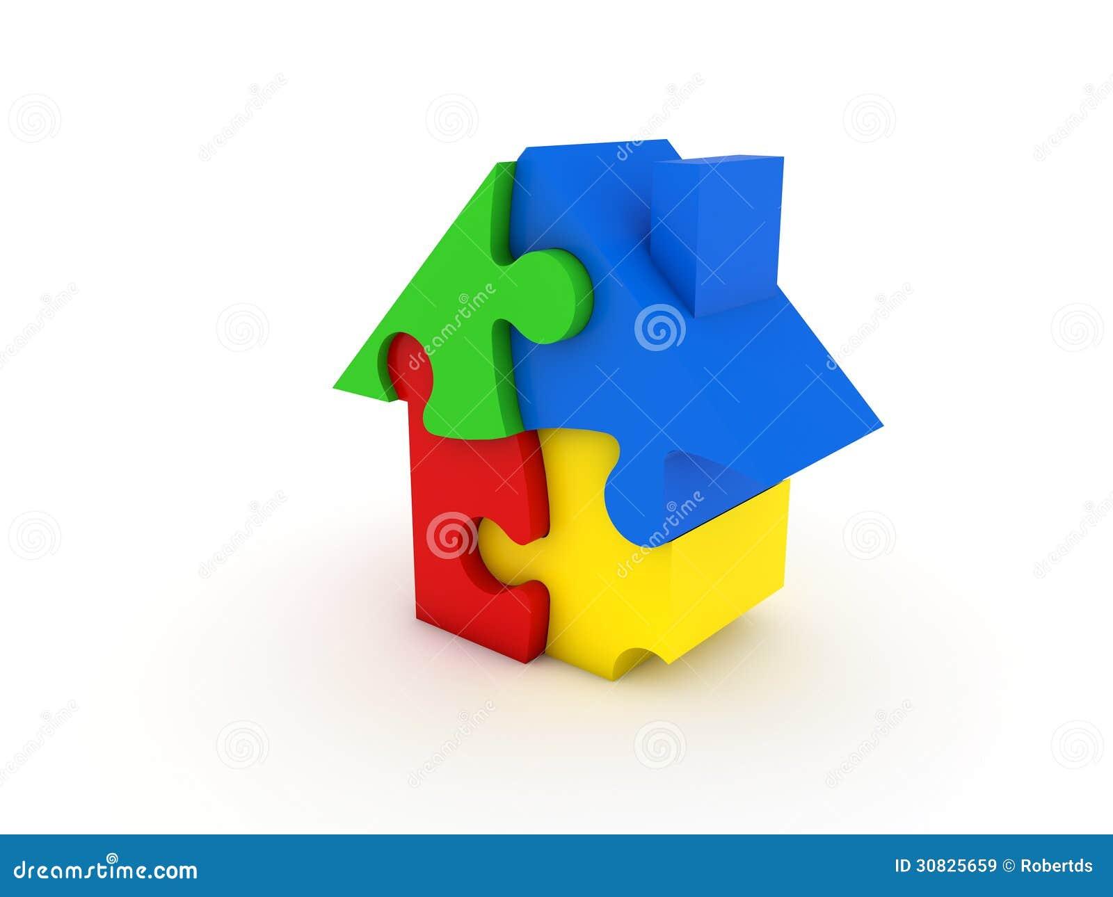 Casa variopinta di puzzle