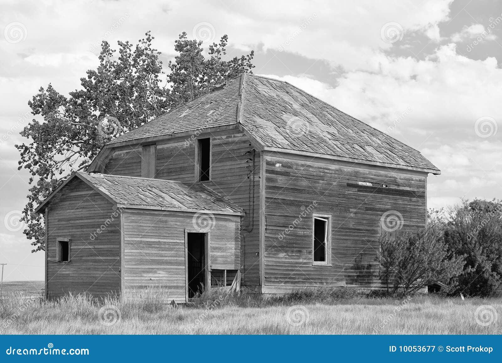 Casa velha da exploração agrícola da pradaria