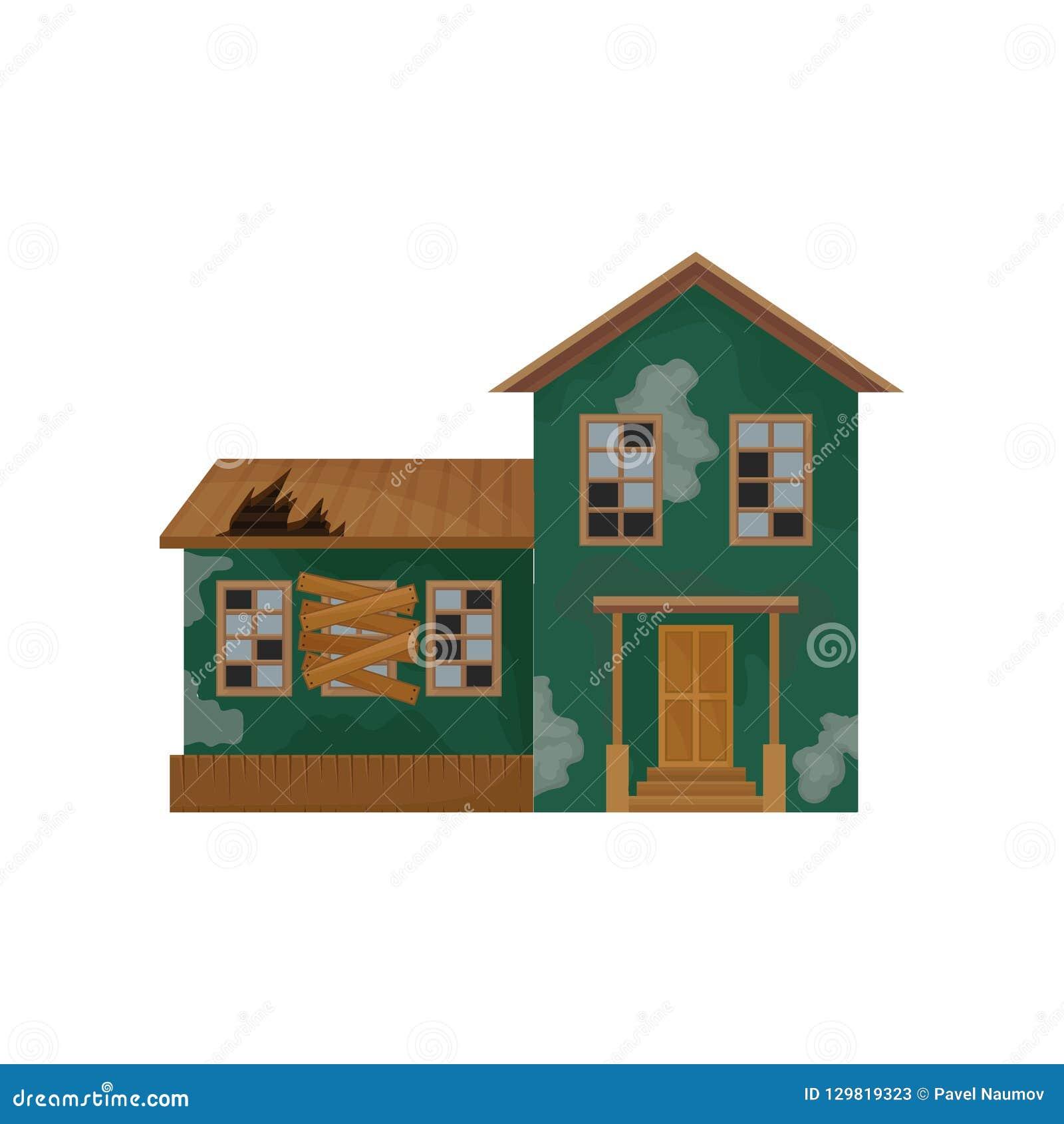 Casa verde con la peladura de la pintura, del tejado quebrado y de ventanas Abandonado a casa Propiedad privada Edificio viejo Di
