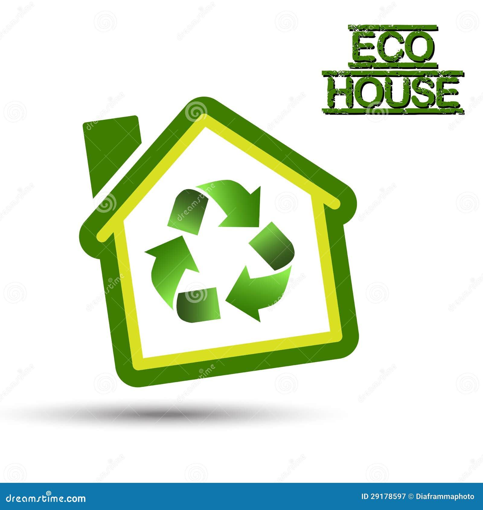Casa verde de eco con el reciclaje de s mbolo ilustraci n for Design eco casa verde