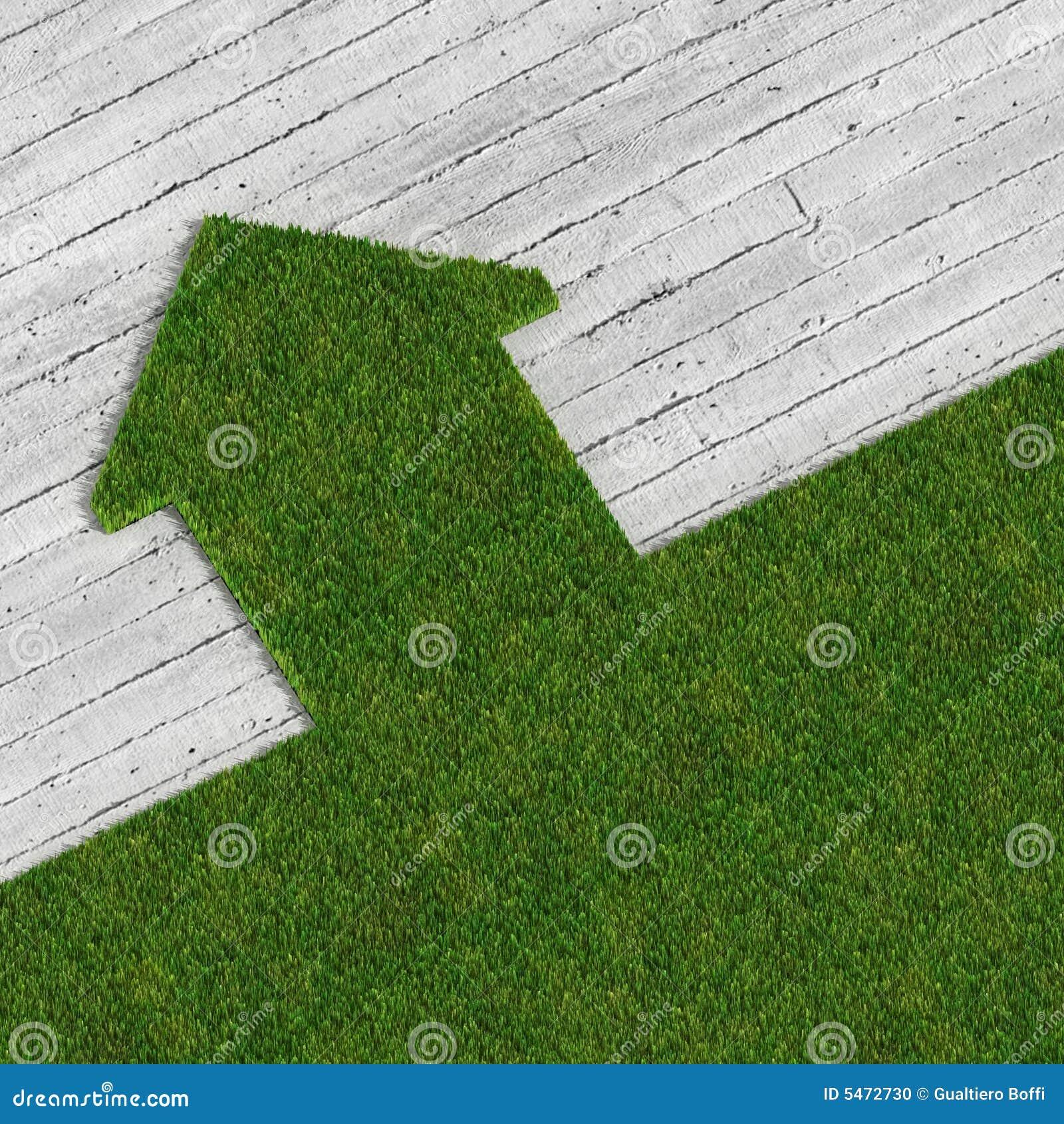 Casa verde de eco contra o concreto foto de stock imagem for Design eco casa verde