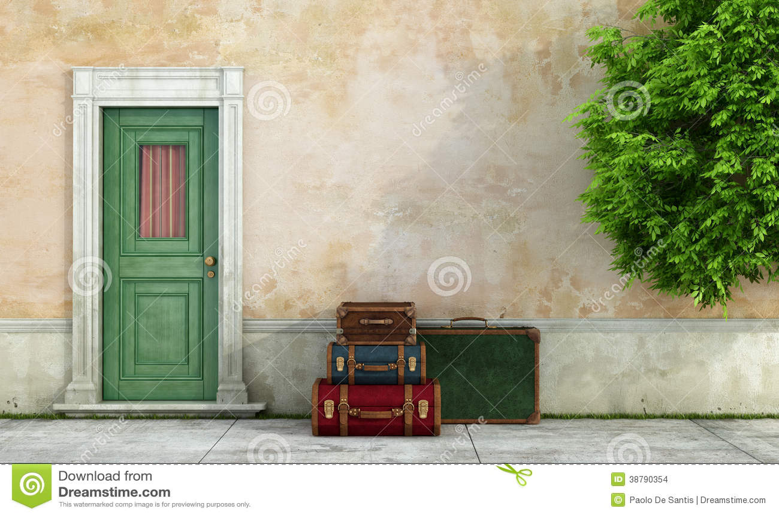 Casa vieja con las maletas del vintage stock de - La casa de las maletas ...