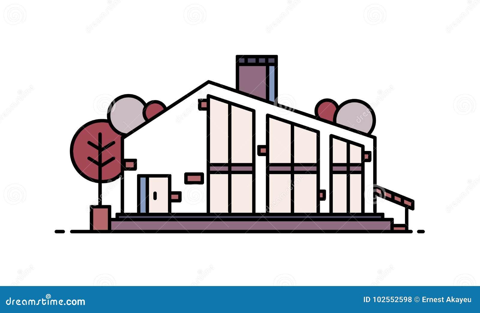 Casa viva construida usando los materiales naturales en estilo arquitectónico moderno Edificio residencial hermoso aislado encend