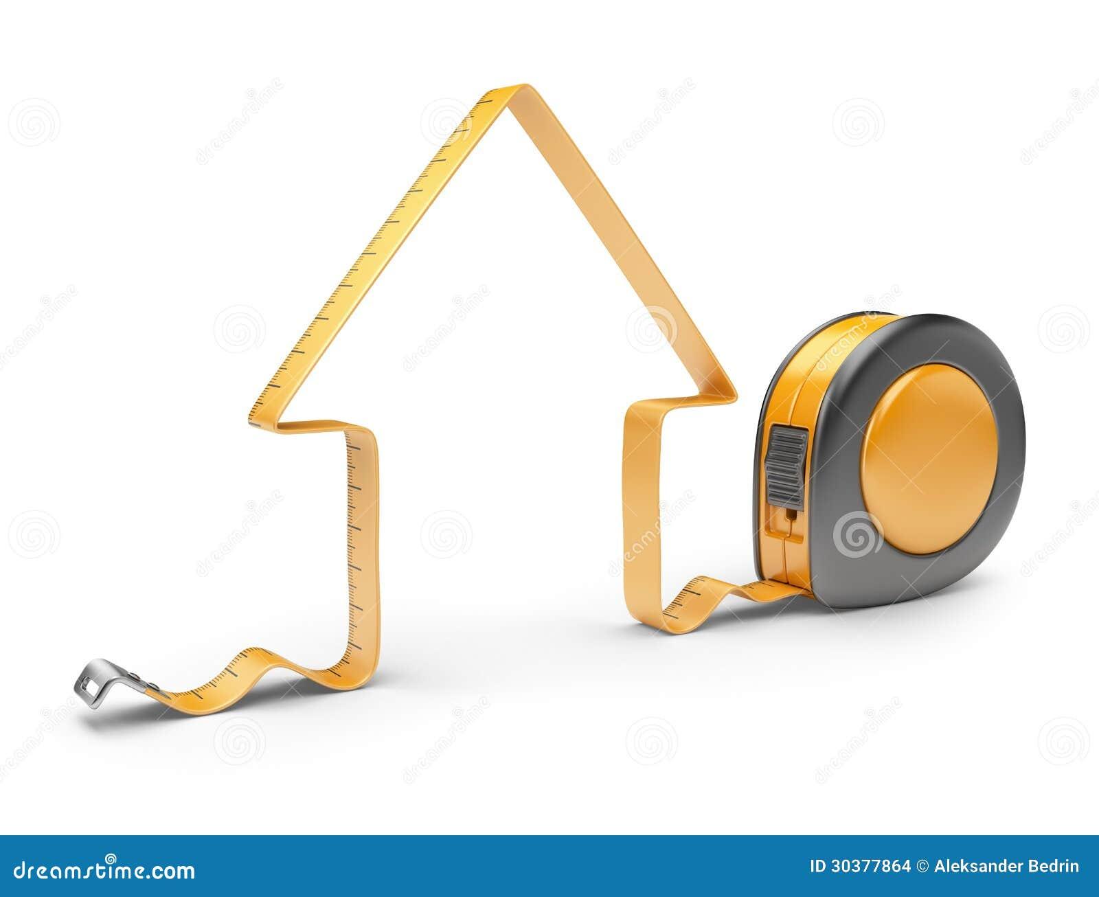 Casa y cinta m trica 3d herramienta de la construcci n for Casa para herramientas