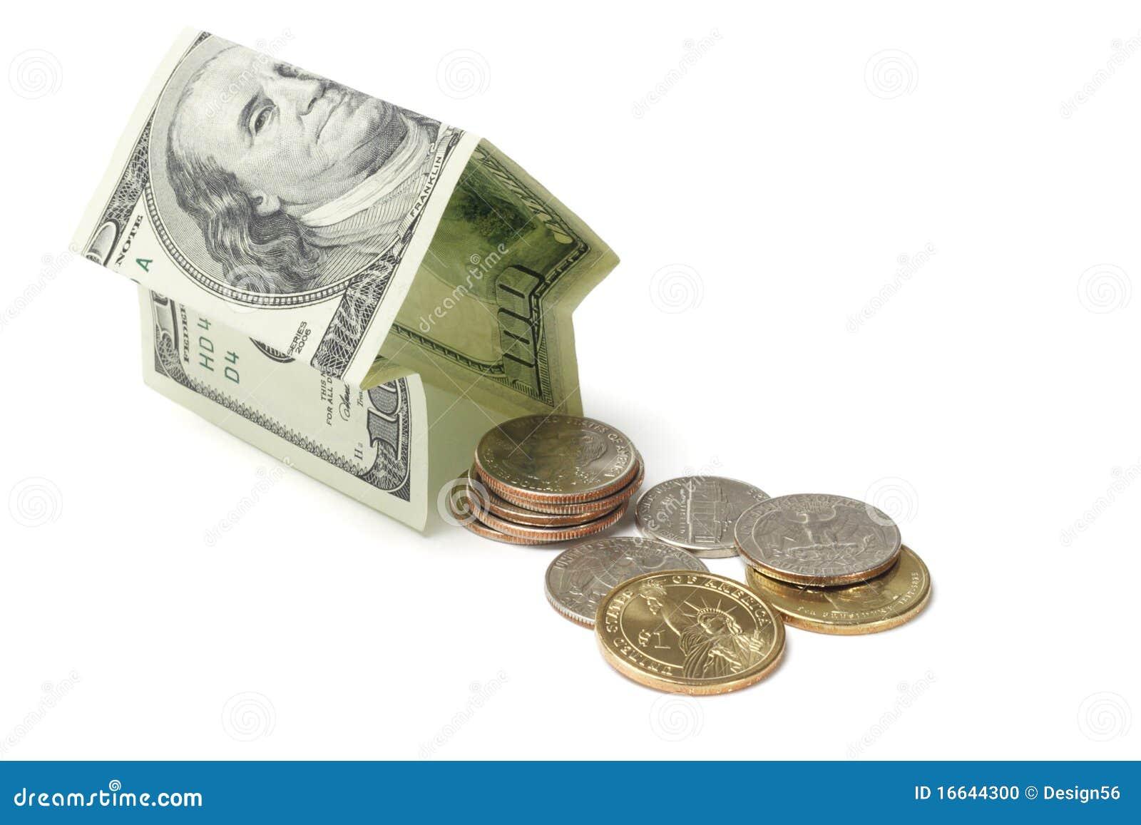 Casa y monedas del dinero