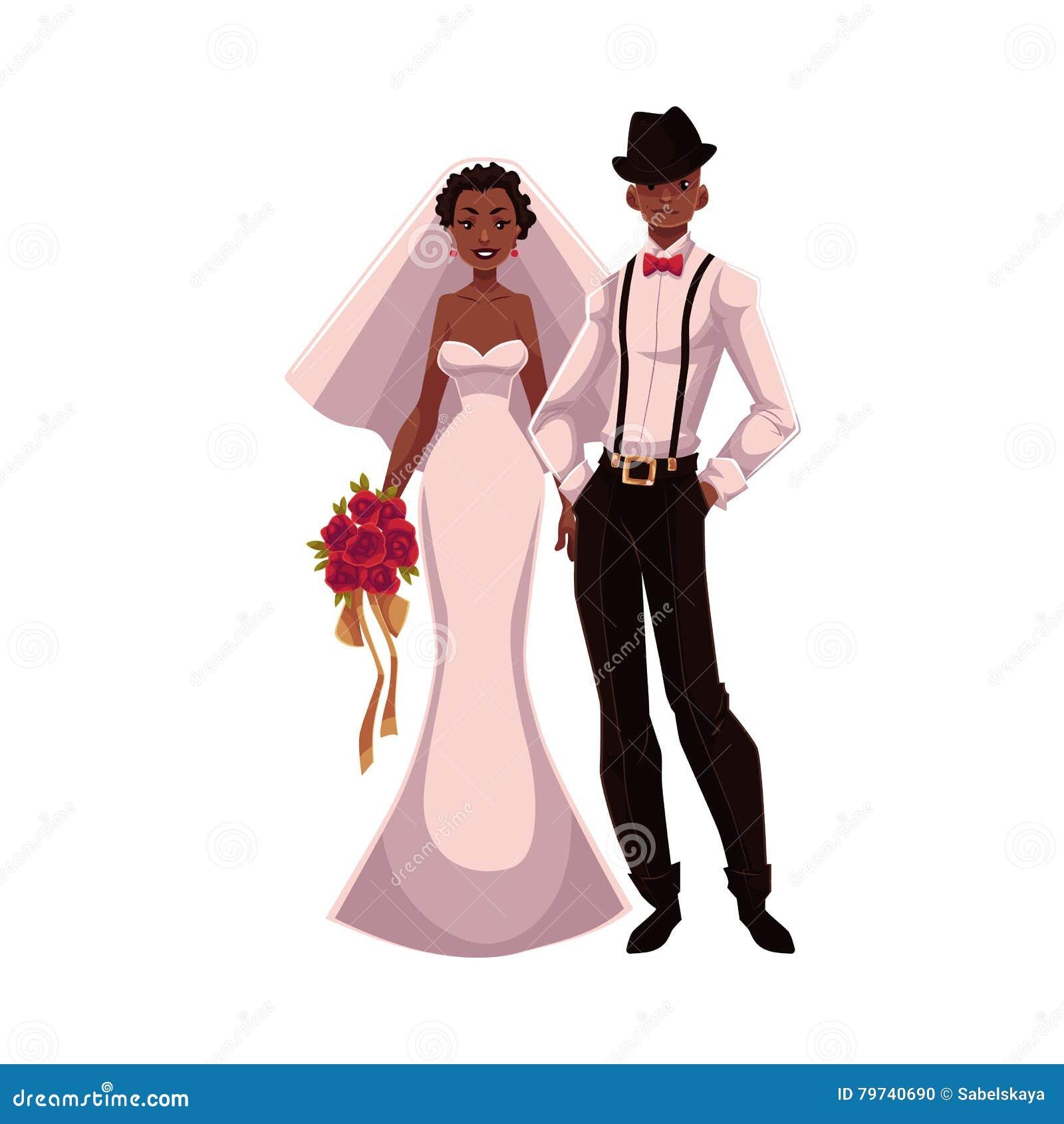 Casal Do Afro Americano Apenas Noivos Pretos Ilustracao Do Vetor