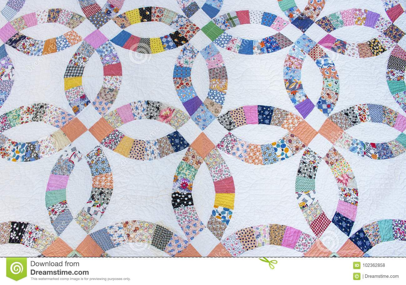 Casamento 1930 do ` s Ring Pattern Hand Made Quilt