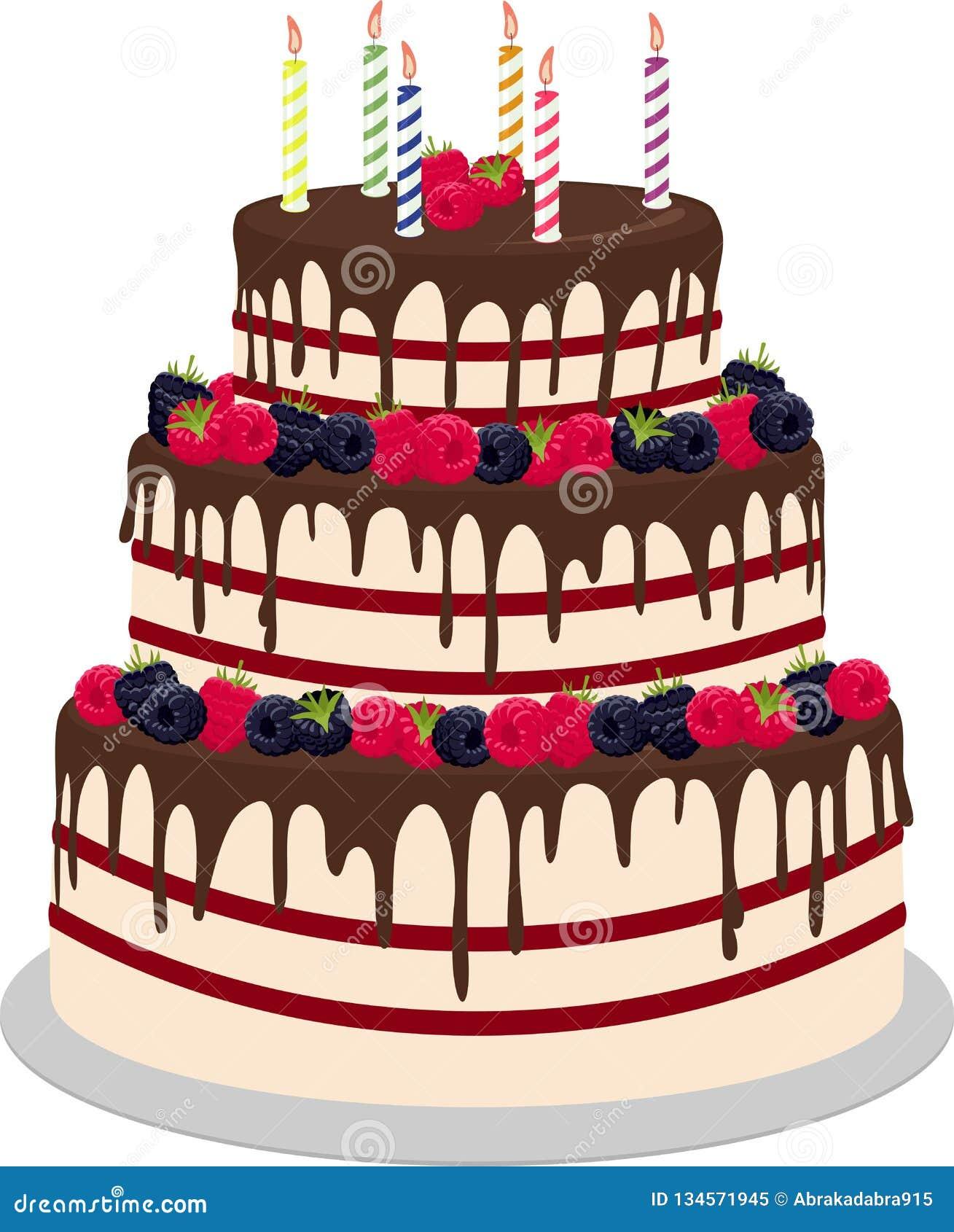 Casamento Três-estratificado ou bolo de aniversário no chocolate, decorado com os paspberries e os mirtilos isolados em um branco