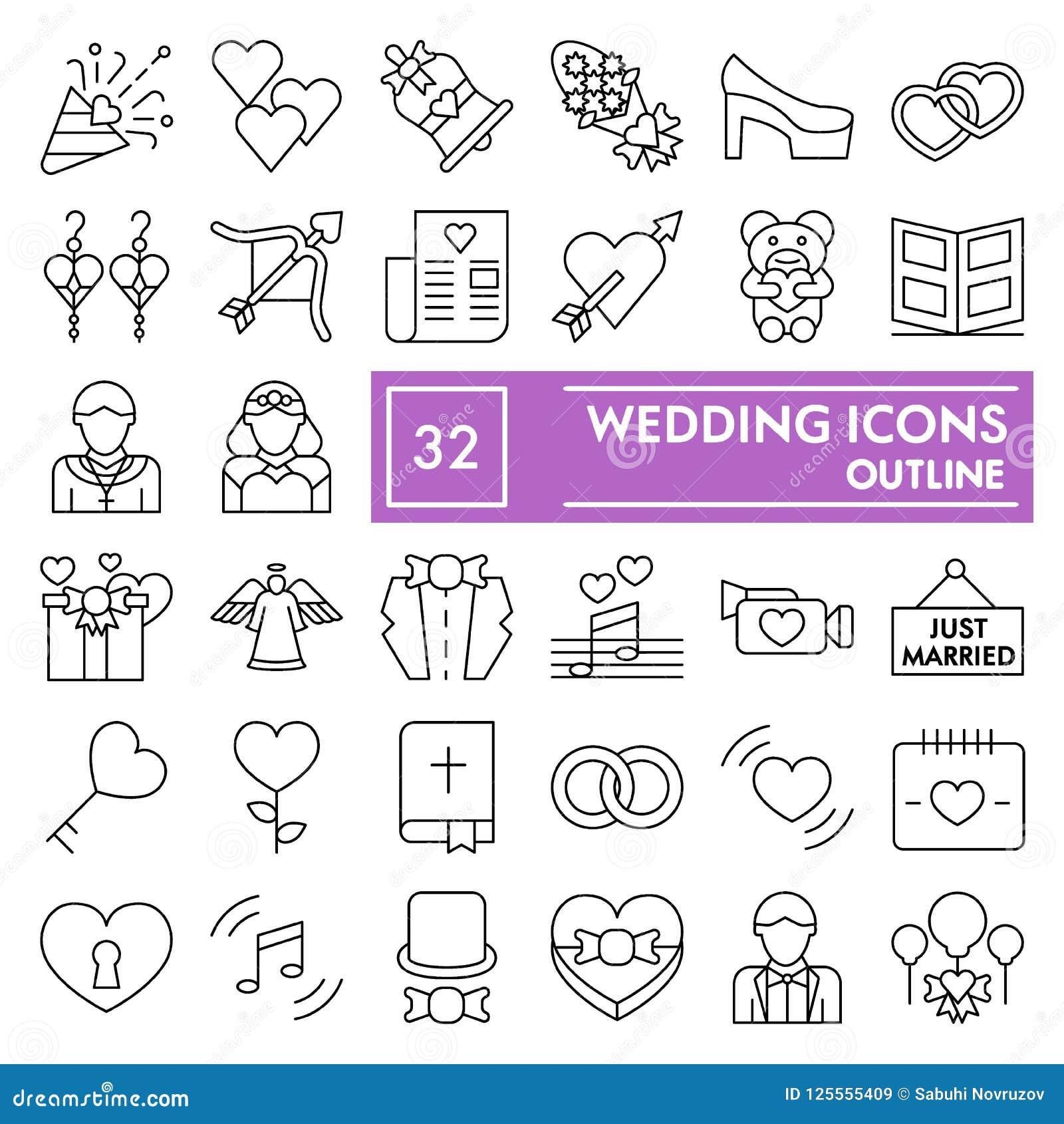 Casandose la línea fina sistema del icono, los símbolos colección, bosquejos del vector, ejemplos del logotipo, boda del amor fir