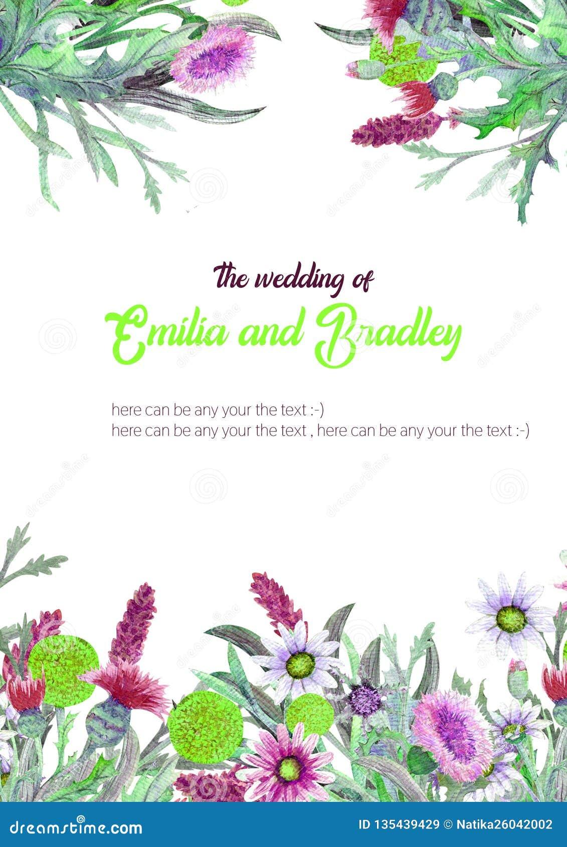 Casarse el marco vertical de flores salvajes watercolor centro de flores Diseño de la plantilla de la tarjeta de felicitación inv