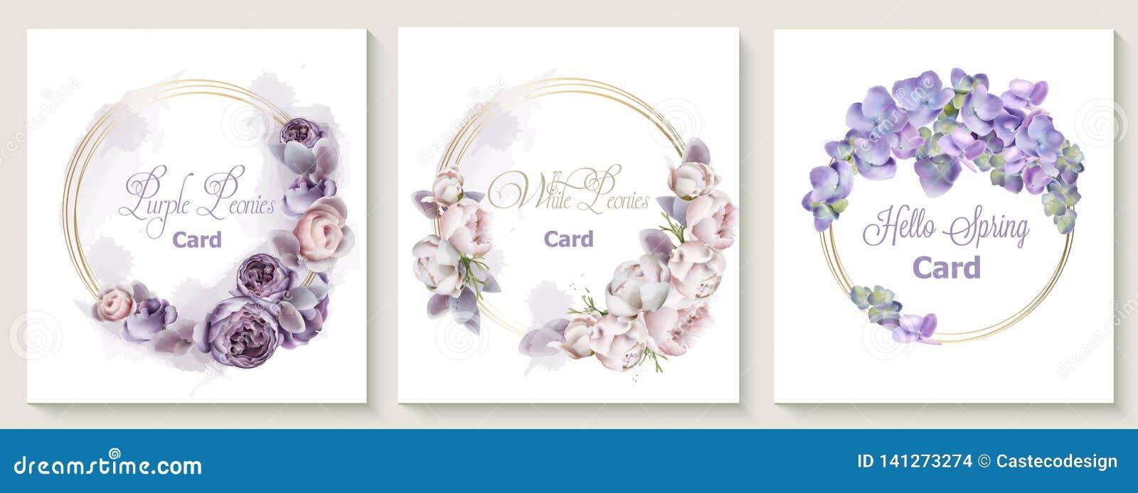 Casarse el sistema de tarjeta de la invitación con la acuarela púrpura del vector de las flores de las flores de la peonía Ahorre