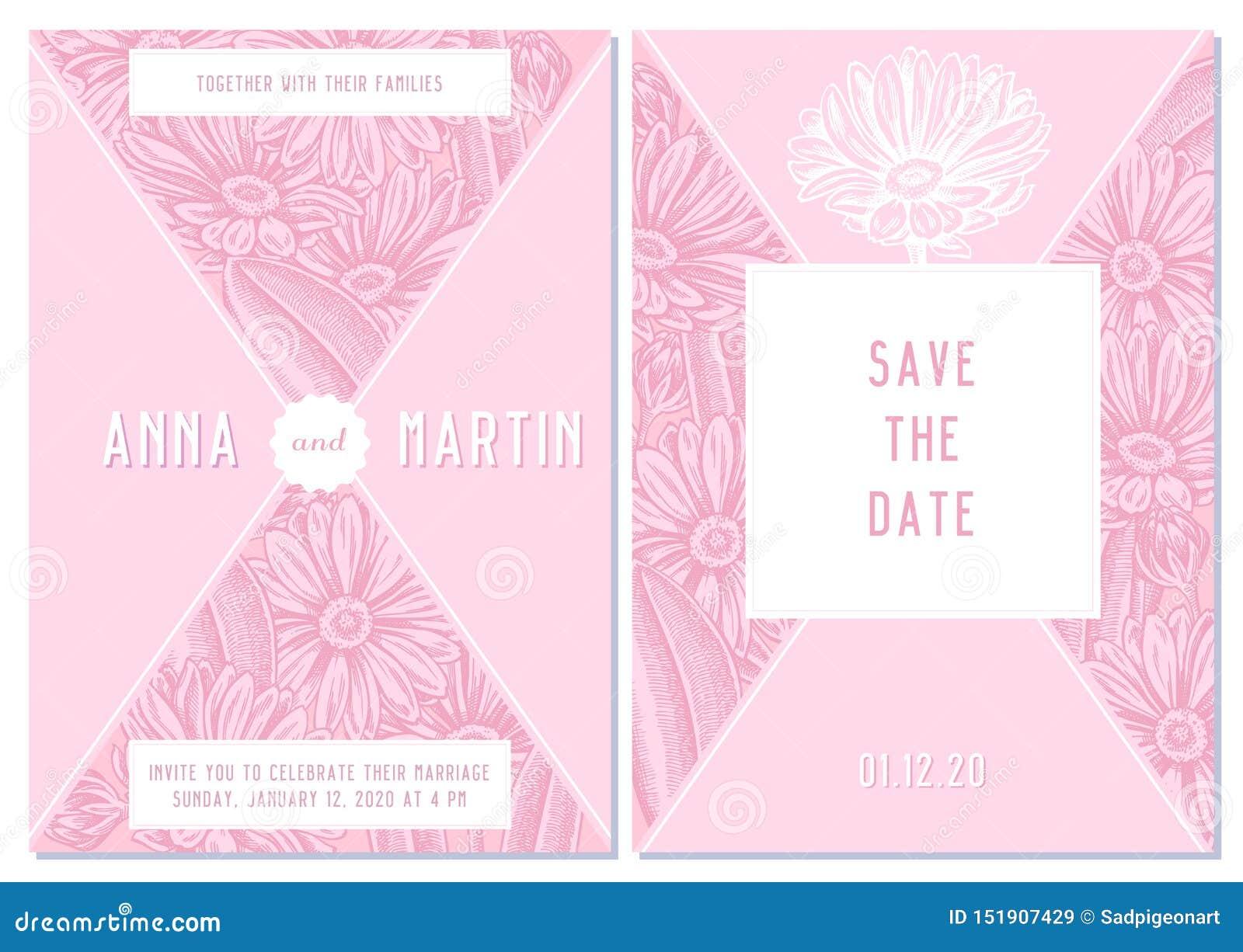 Casarse la tarjeta de la invitación con el calendula rosado