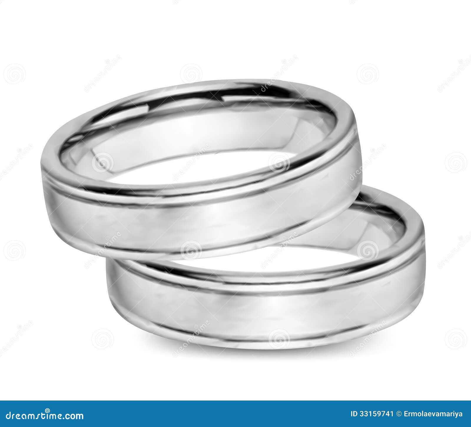 Casarse los anillos de oro blanco vector imagen de for Precio rodiar anillo oro blanco