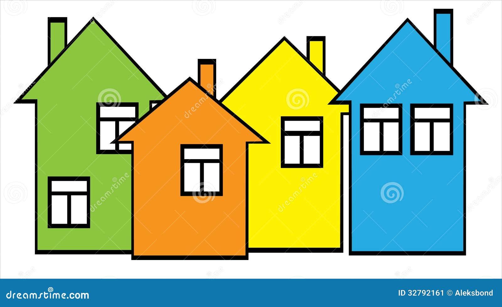 casas coloridas ajustadas ilustração do vetor ilustração de
