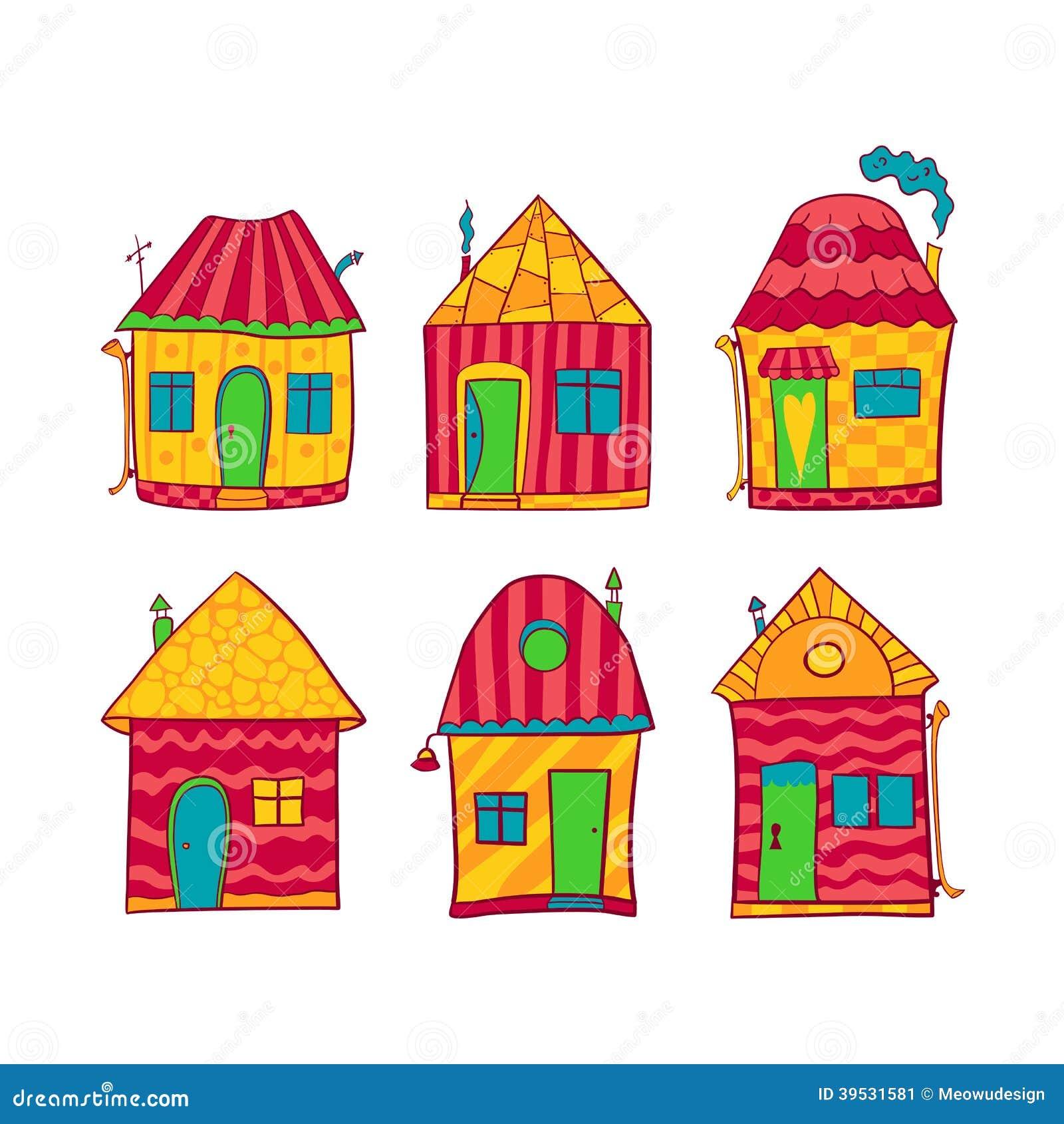 casas coloridas ajustadas no estilo dos desenhos animados ilustração