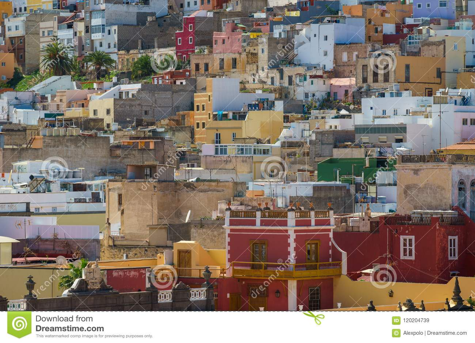 Casas coloridas del Las Palmas, Gran Canaria, España