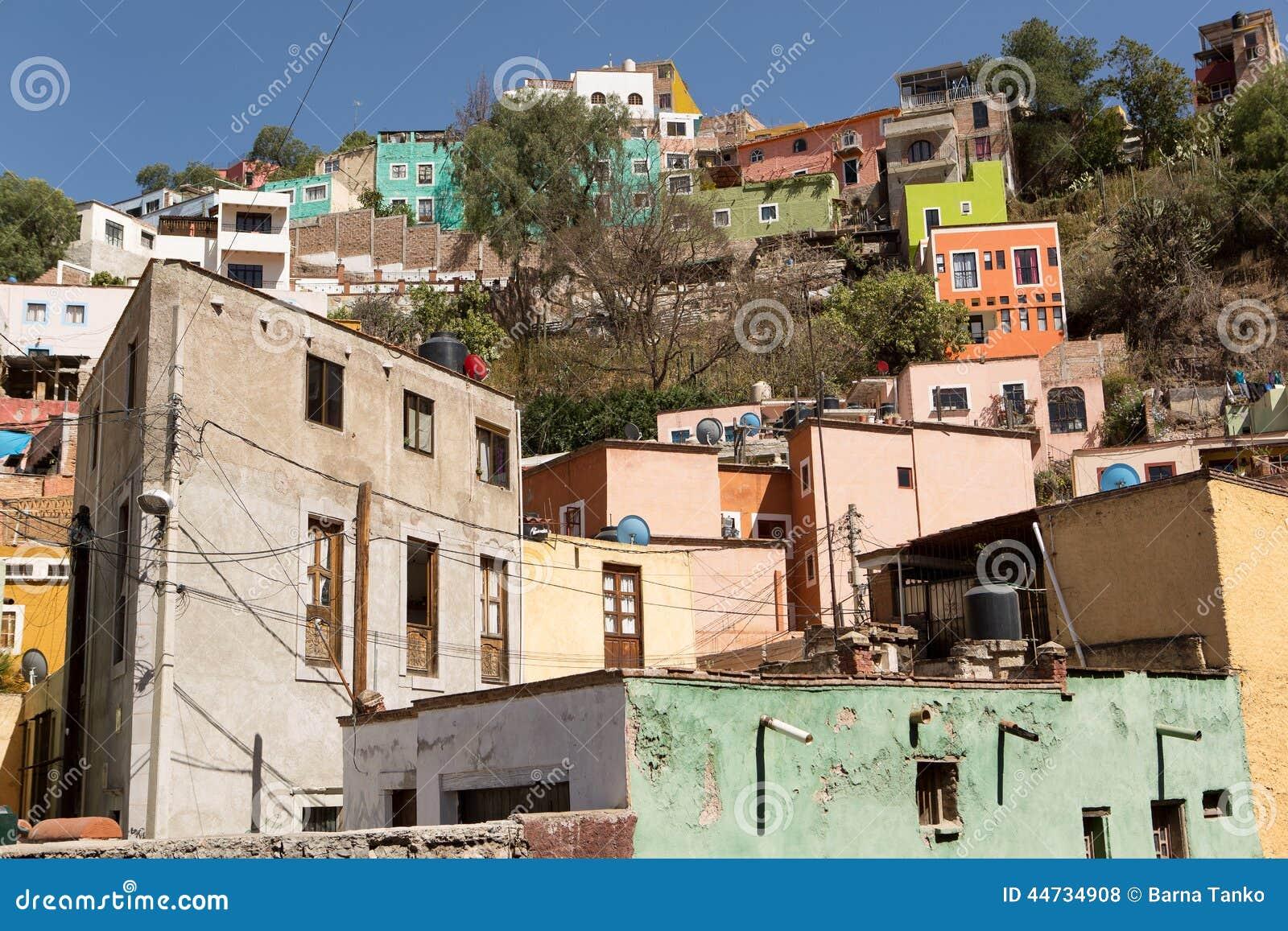 Casas coloridas em Guanajuato, México