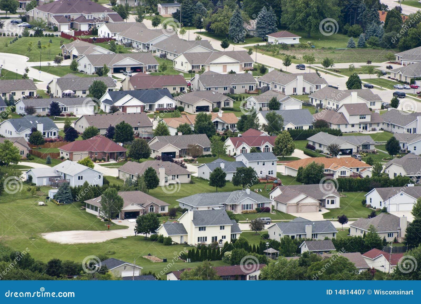 Casas da vizinhança da vista aérea, HOME, residências