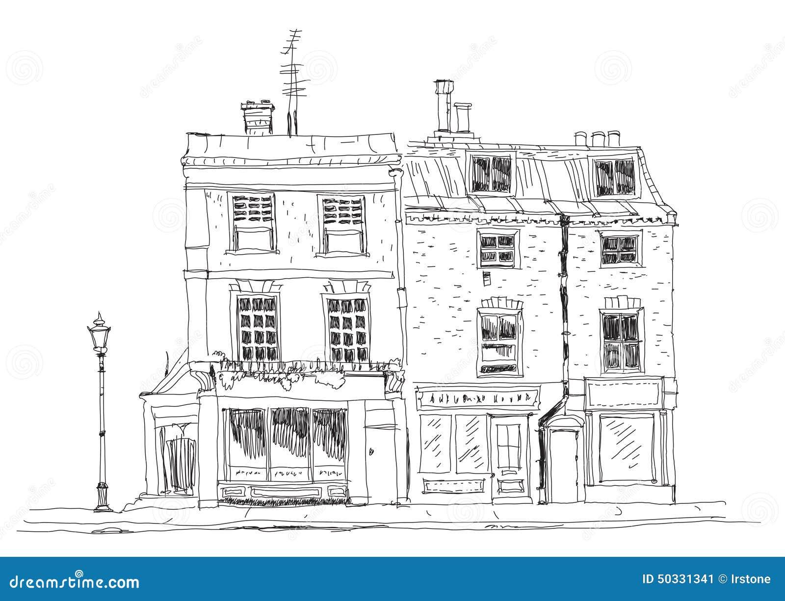 Casas de ciudad inglesas viejas con las tiendas en la planta Edificios famosos de la colección del bosquejo
