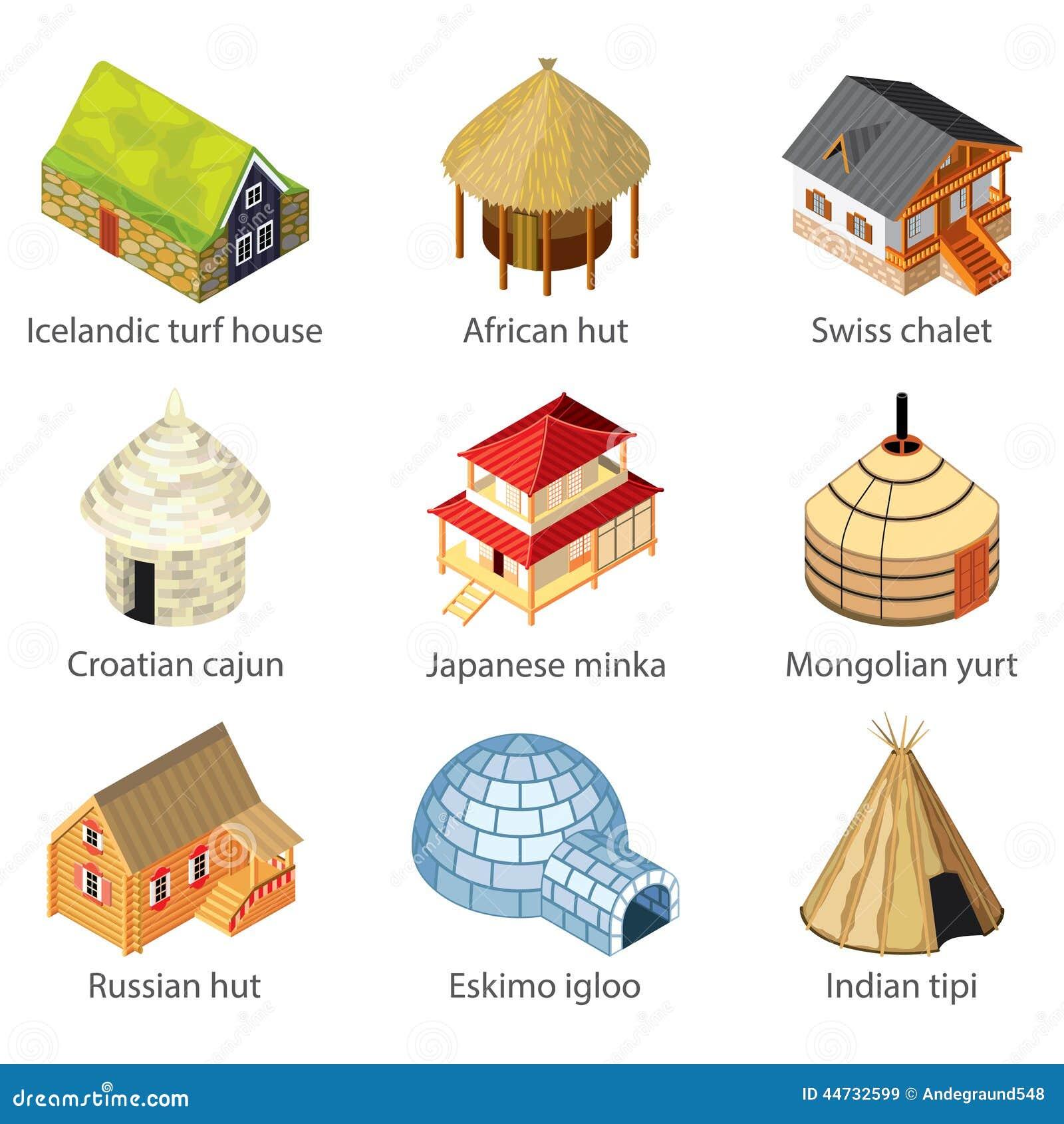 Casas de diverso sistema del vector de los iconos de las naciones