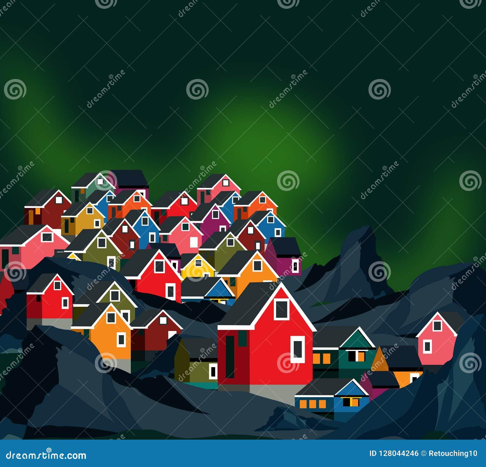 Casas de Groenlandia con aurora borealis