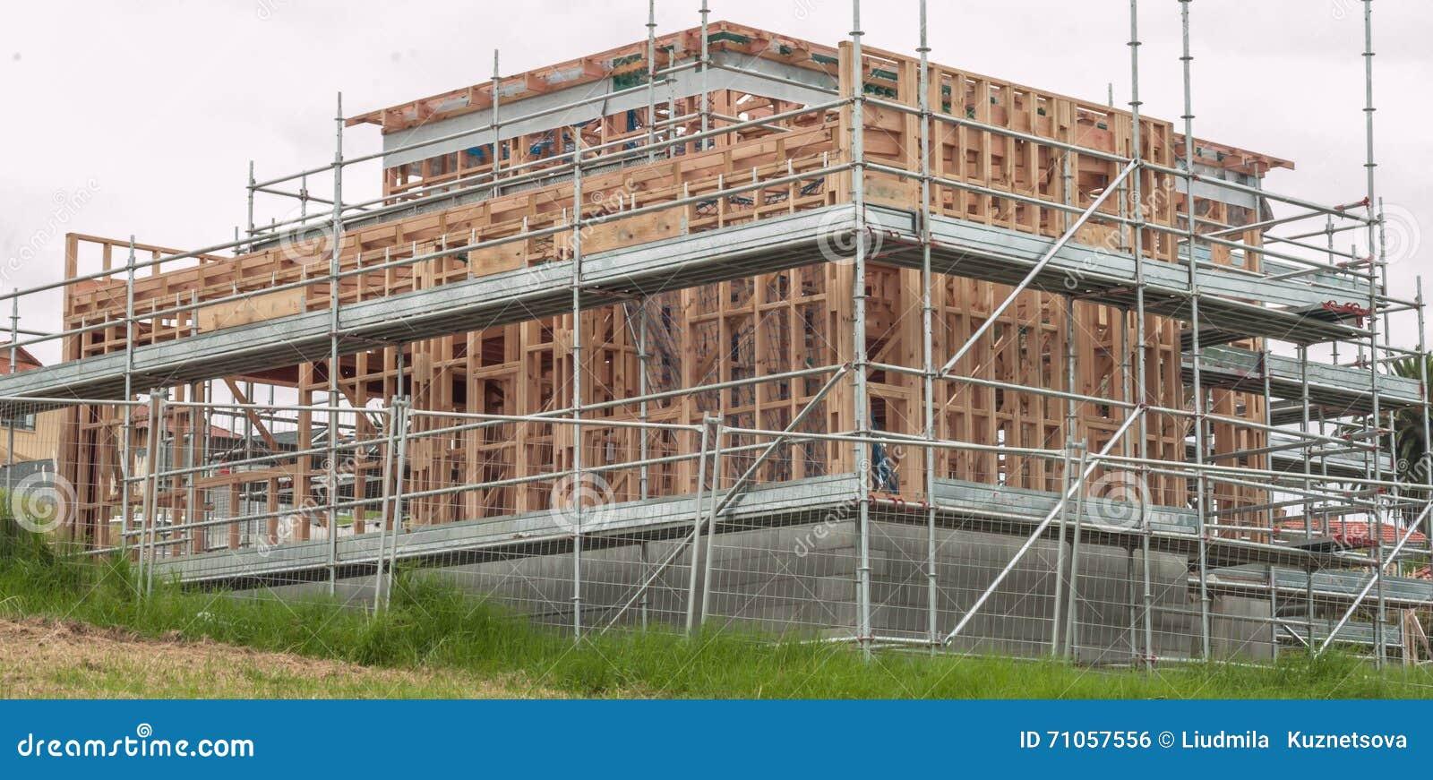 Casas De Marco De Madera, Construyendo En Nueva Zelanda Foto de ...