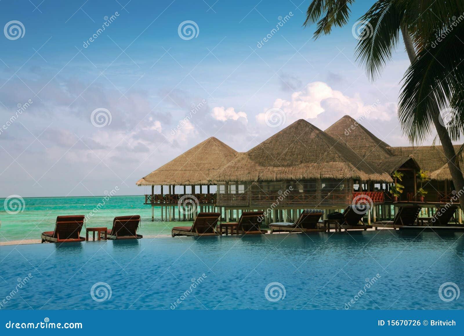 Casas de planta baja del agua de Maldives