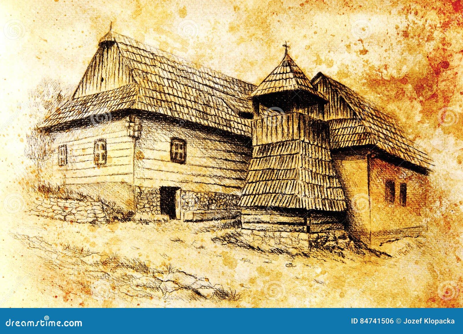 Casas Del Willage De Idylic Con El Campanario De Madera Dibujo De