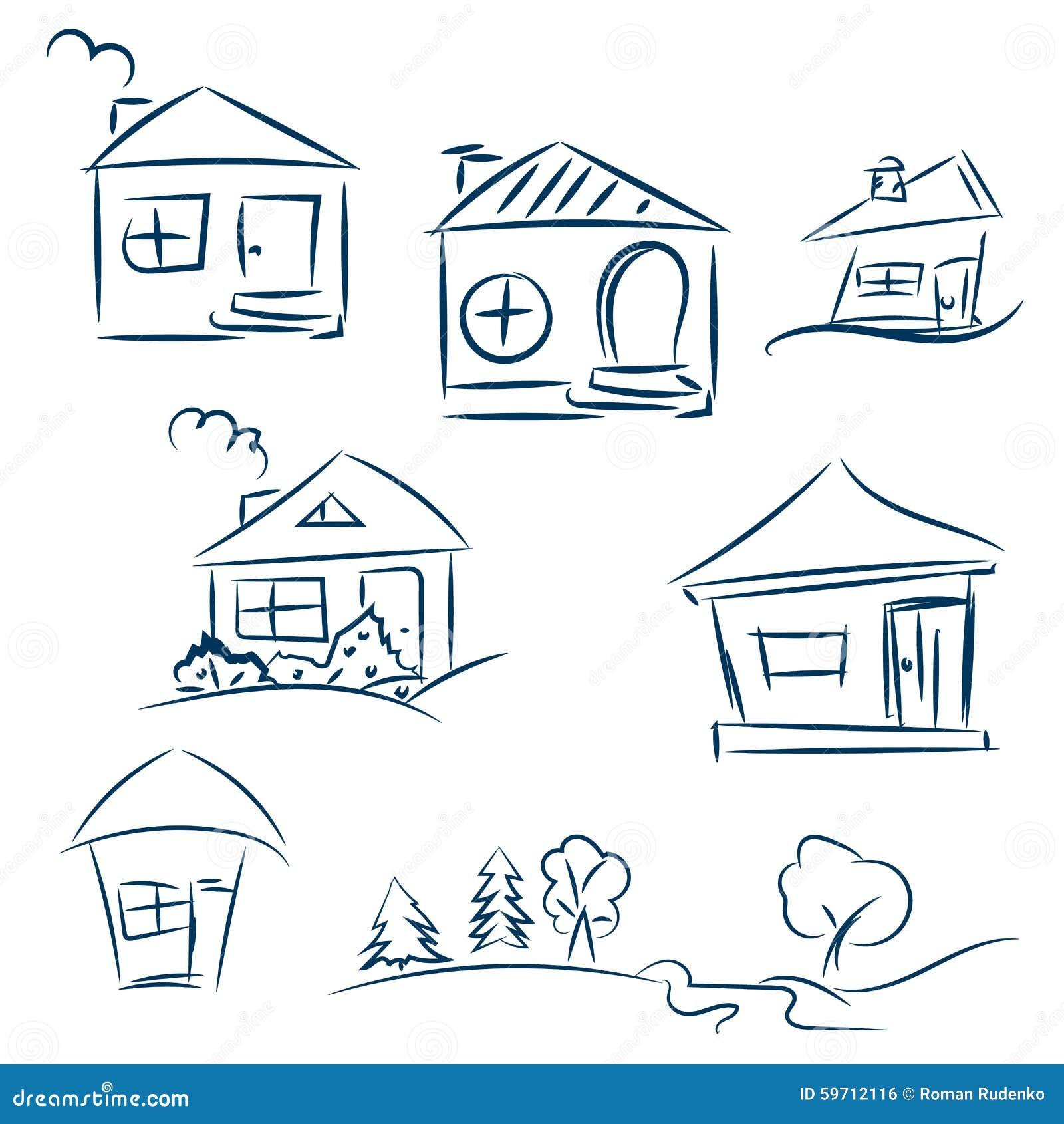 Casas dibujadas mano del garabato bosquejo del vector del l piz casas azul marino ilustraci n - Casas dibujadas a lapiz ...