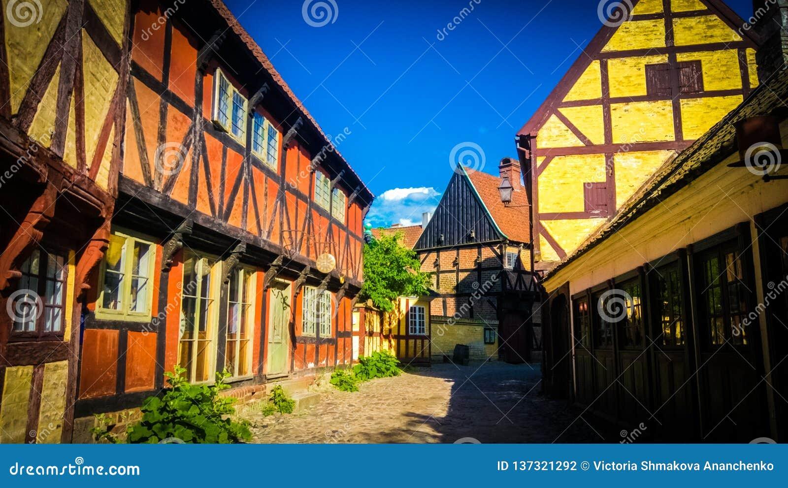Casas dinamarquesas tradicionais em Den Gamle By em Aarhus, Dinamarca