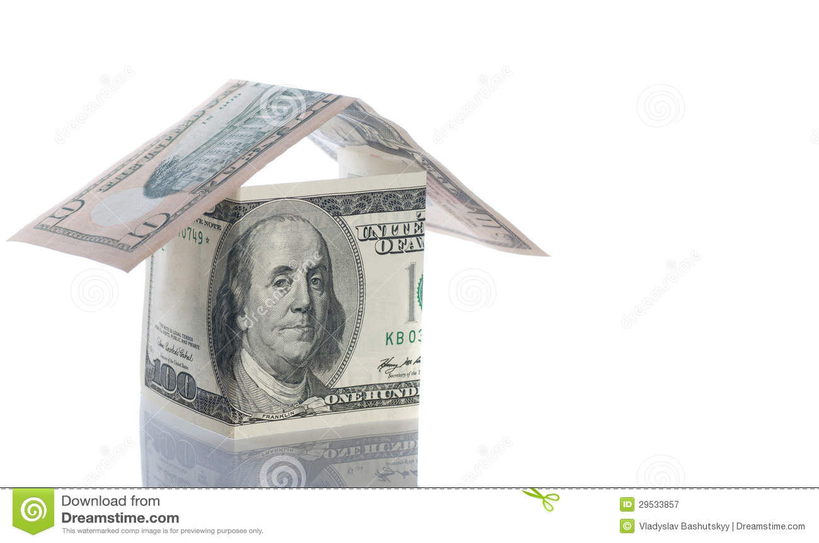Casas do dólar e da libra sobre o branco.