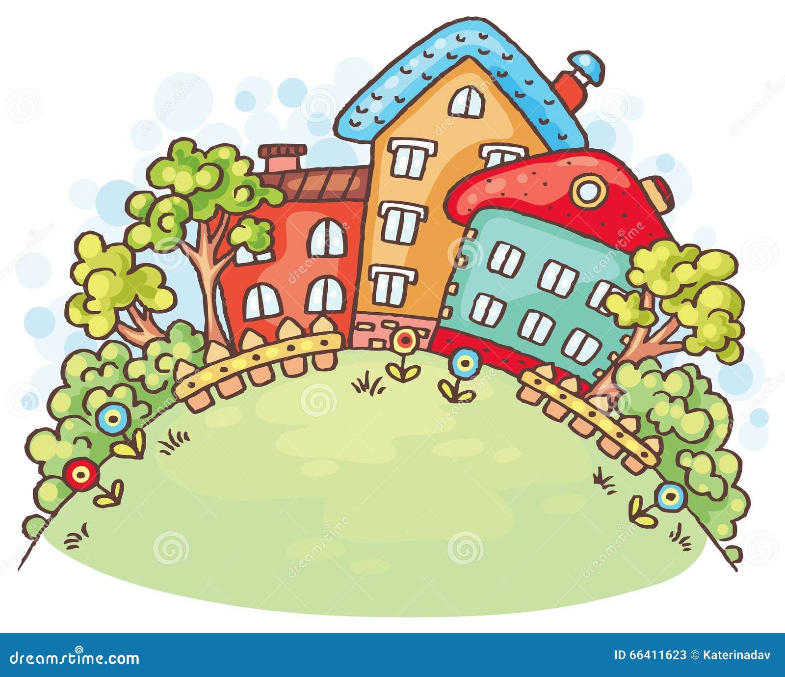 Casas e árvores dos desenhos animados em um monte com um espaço da cópia