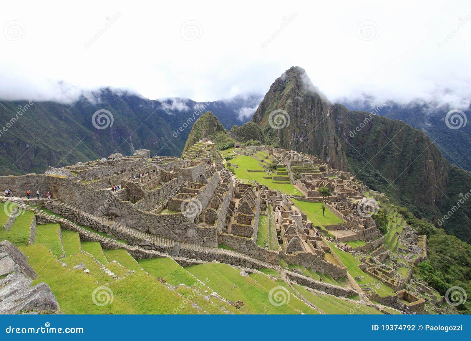 Casas e terraços de Machu Picchu