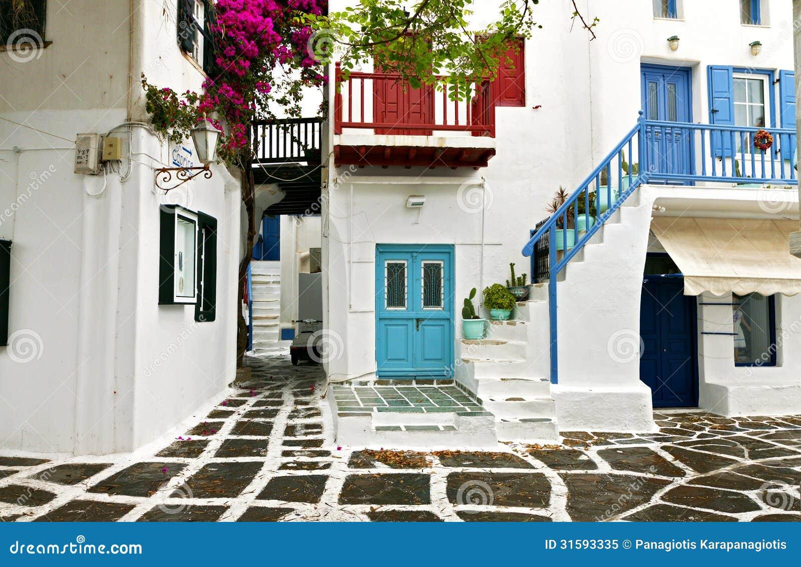 Casas griegas en la isla de mykonos foto de archivo libre for Casas en islas griegas